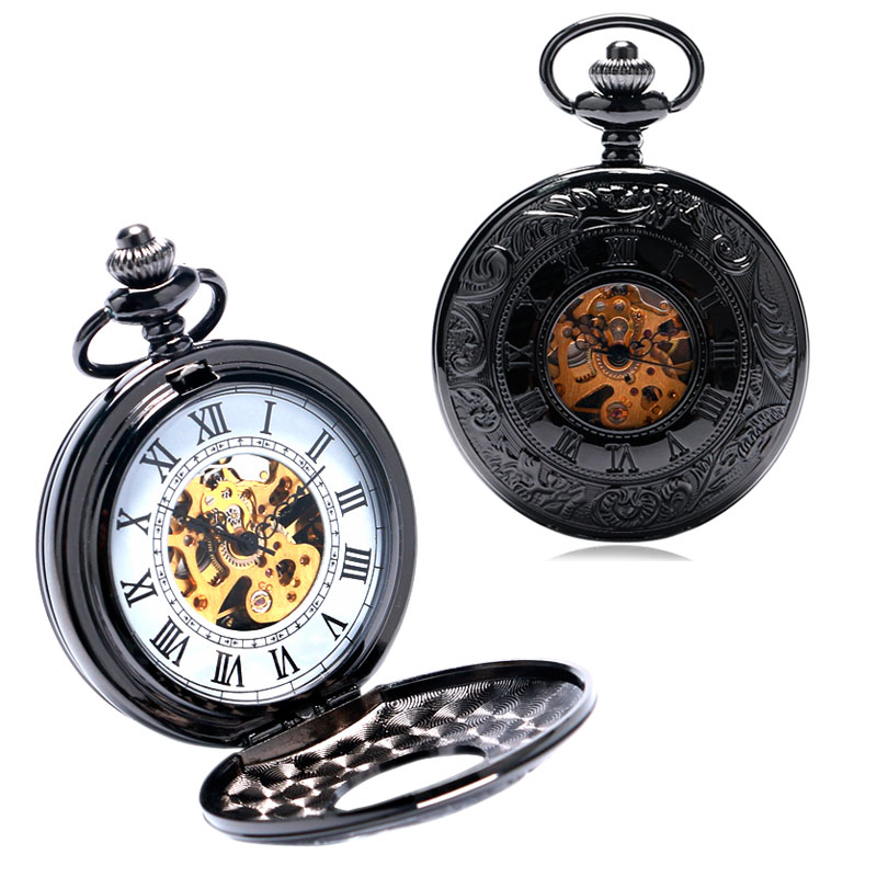 Vintage Retro Double Hunter Mechanical Hand Wind Pocket Watch Skeleton White Numbers Dial Men Women Watches Clock Necklace Gift
