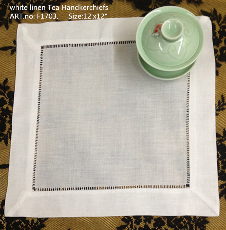 "Free Shipping Fashion White Linen Men Tea Handkerchiefs Unisex Coffee Handkerchiefs 12PCS/Lot 12""x12""Embroidered Hemstitch Edges"