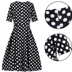 ROPALIA Elegant Vintage Womens Polka Dot Belted Tunic Pinup Wear To Work Office Casual Party A Line Dress 3