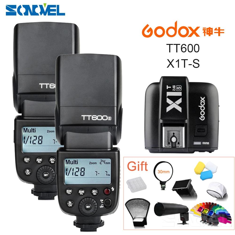 2x Godox TT600s HSS GN60 2.4G Fotocamera Flash Speedlite + X1T-S Trasmettitore per Sony A7 A7R A7S A7 II A6300 A6000 A6500 A6100 A58 A99