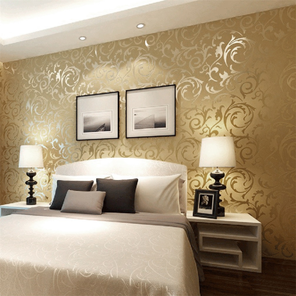 Modern Wallpaper For Bedroom popular damask modern wallpaper-buy cheap damask modern wallpaper