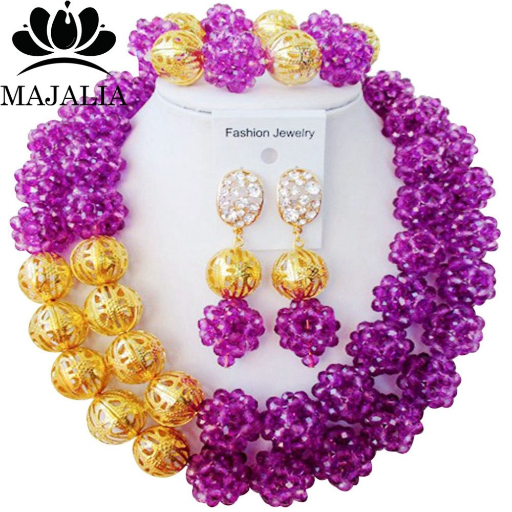 Majalia Classic Nigerian Wedding African Jewelry Set Purple Crystal Bead Necklace Bride Jewelry Sets Free Shipping 2JS019Majalia Classic Nigerian Wedding African Jewelry Set Purple Crystal Bead Necklace Bride Jewelry Sets Free Shipping 2JS019