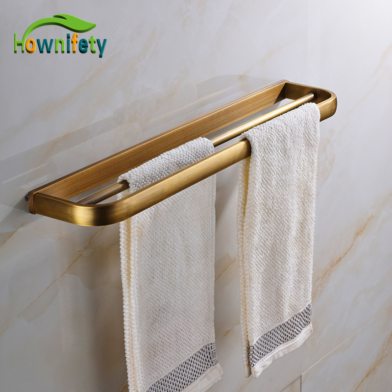 Free Shipping Antique Brass Double Towel Bars Towel Holder Bathroom Hardware Accessories Wall Mount free shipping high quality double towel bars elegance concise towel racks towel holder bathroom accessories dual white towel bar