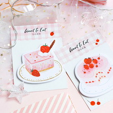4 pcs Want to eat Cake Mousse sticky note Strawberry memo pad planner sticker bookmark Stationery Office School supplies A6058