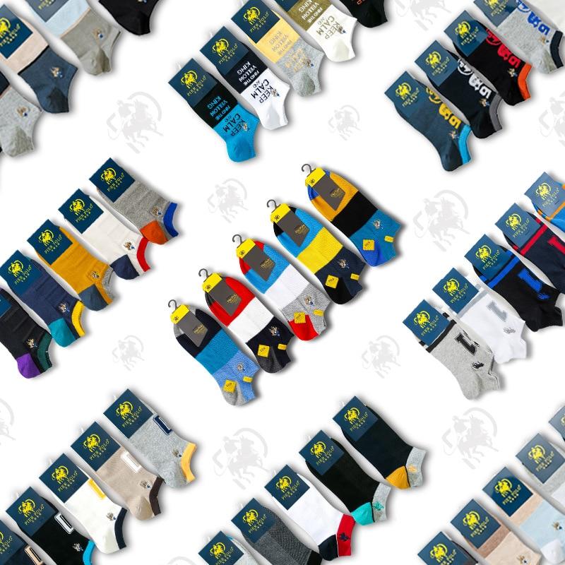 5 Pairs/lot PIER POLO Brand Men Socks Summer Fashion Casual Soft Short Cotton Socks Men Funny Ankle Socks Manufacturer Wholesale