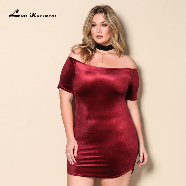 be7d6e3da3 Lan Karswear 2018 Summer Dress Slash neck Short-sleeve Sexy Mini Dresses  Plus Size Women