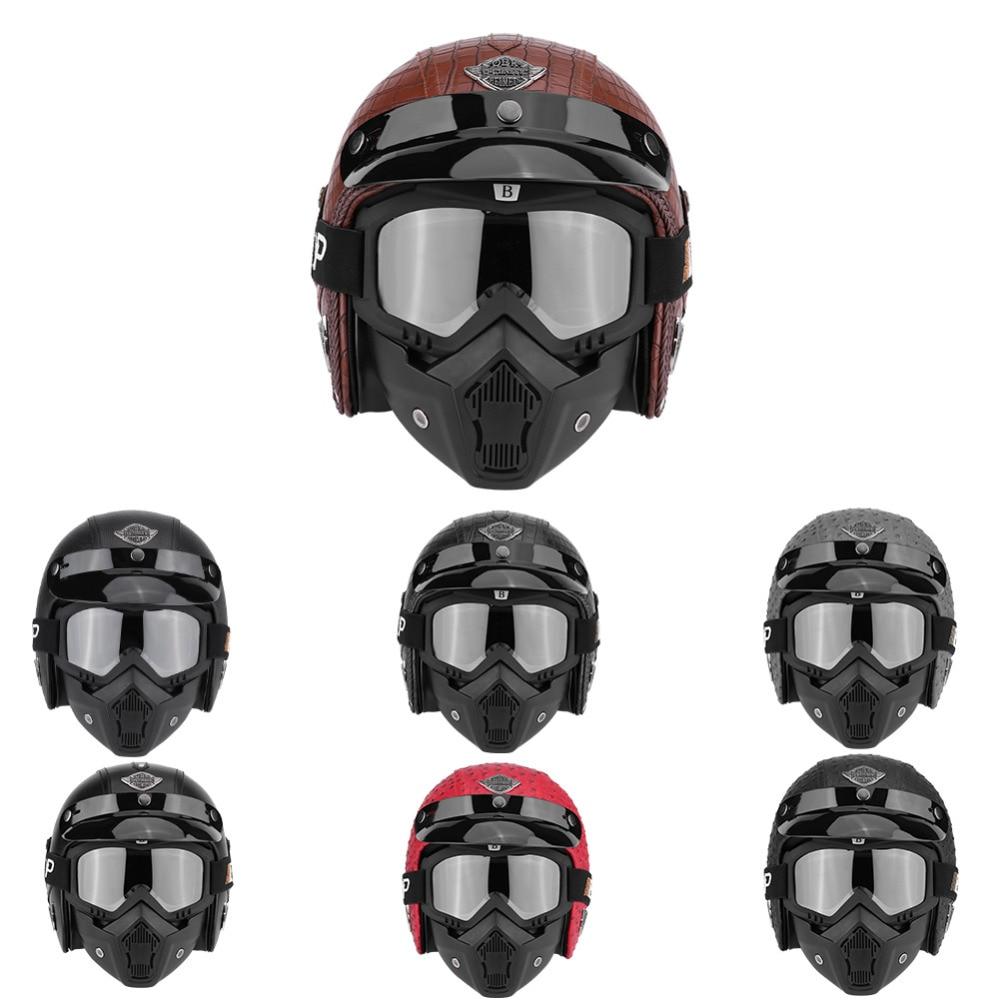 Casques Moto visage ouvert demi Moto Scooter PU cuir casque masque masque Vintage masque casque pour casque Harley