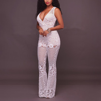 Charming Sexy Charming Tiefem V-ausschnitt Sleeveless Langes Overall Strampler Spitze Floral Overalls Overalls