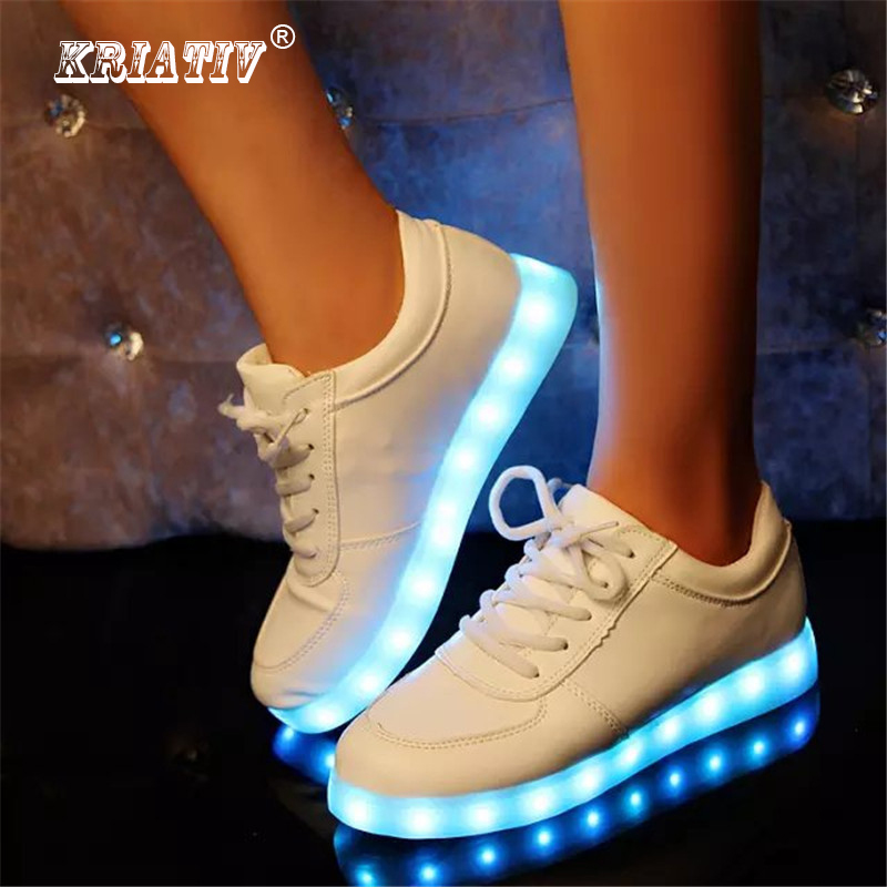 KRIATIV Slippers Led Kids Lighting Up Shoes Girls Boys Children Shoes with Light with USB Luminous Sneakers Glowing Shoes White