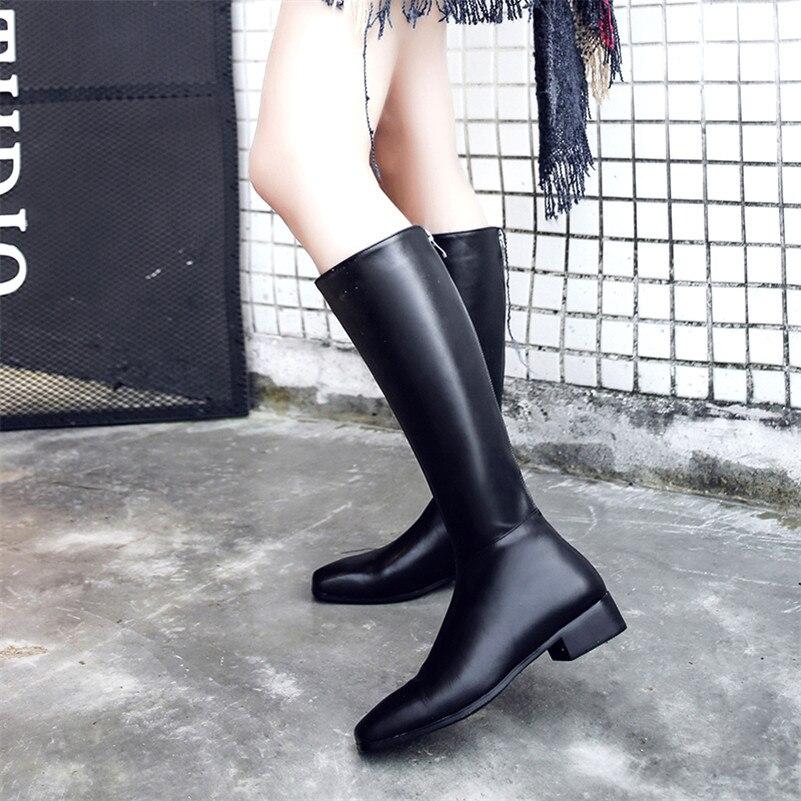 Femme Partie Moto Femmes Talons Marque Bas Carré Confort Bottes Casual Bout Danse Genou Chaussures Fedonas Noir Haute I7wOZqq