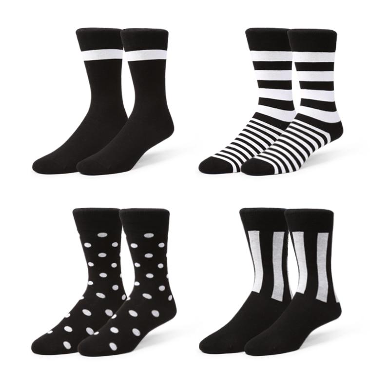 VVQI Men Socks Original Designer Fashion Simple Black White Line Polka Dot British Style Good Quality Cotton Women Long Socks