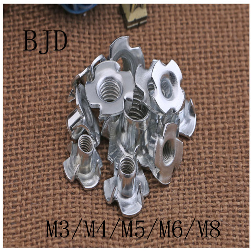 100PCS/lot M3- M10 Four Claw Nut /Four Claw Female Furniture Nut/Captive T Pronged Tee Blind Nuts m2 5 pem nuts standoffs blind rivet captive nuts self clinching blind fasteners