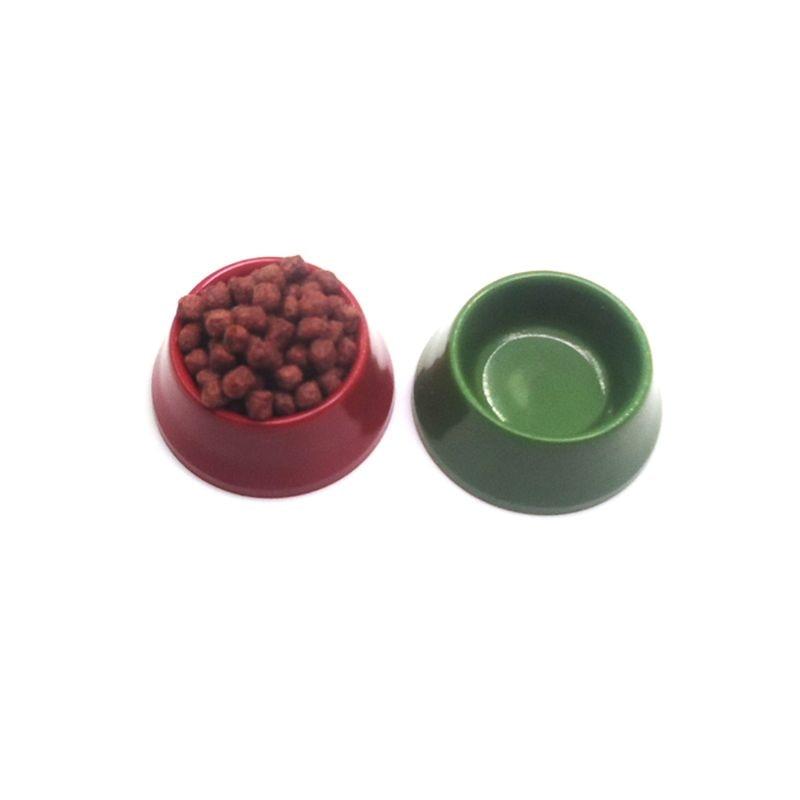 1//12 Dollhouse Miniature Pet Dog Cat Food On Bowl Kitchen Garden Decor Green