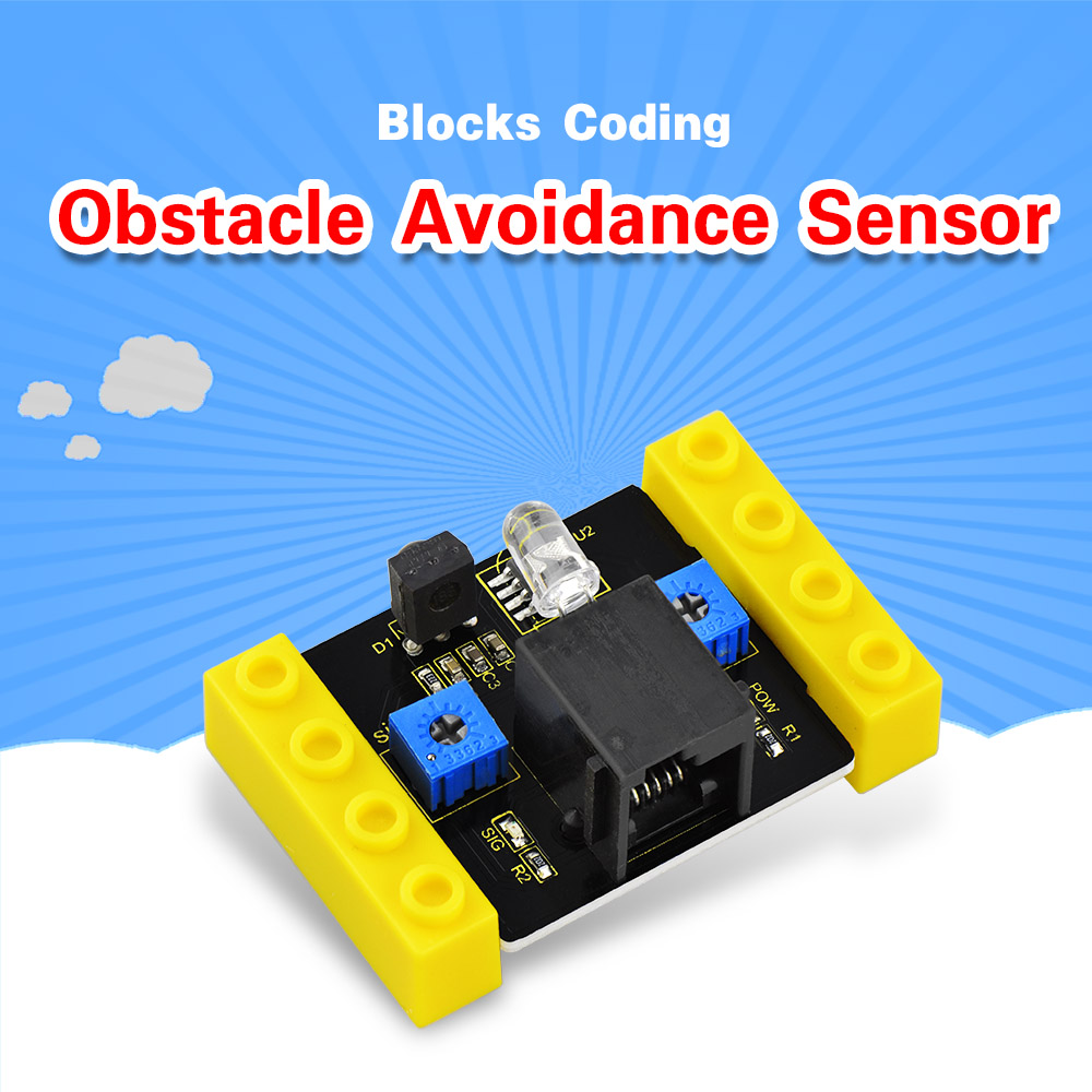 Kidsbits Blocks Coding Obstacle Avoidance Sensor Module For Arduino STEAM EDU (Black And Eco Friendly)