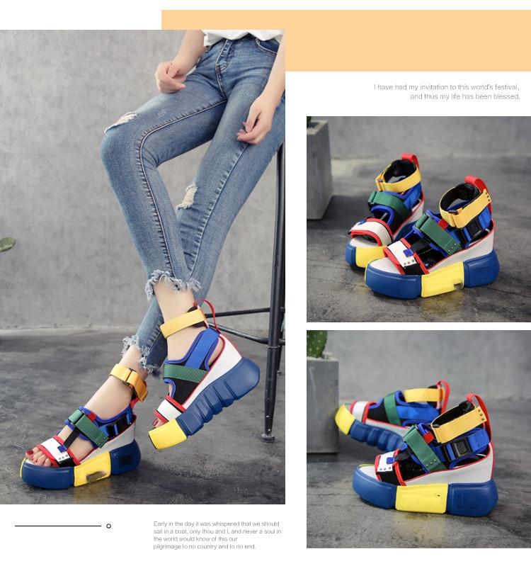 HTB1CiAcOkzoK1RjSZFlq6yi4VXaB SWONCO Women's Sandals 2019 Summer High Heels Sandals For Women Chunky Sandal Womens Wedge Platform Shoes Casual Summer Sandal