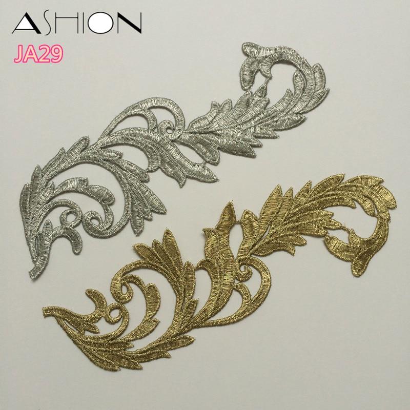 LP-JA29 Borduurwerk bloemen patches gouden kant applique kraag trouwjurk formele kleding accessoires pailletten stof patch 10 stks