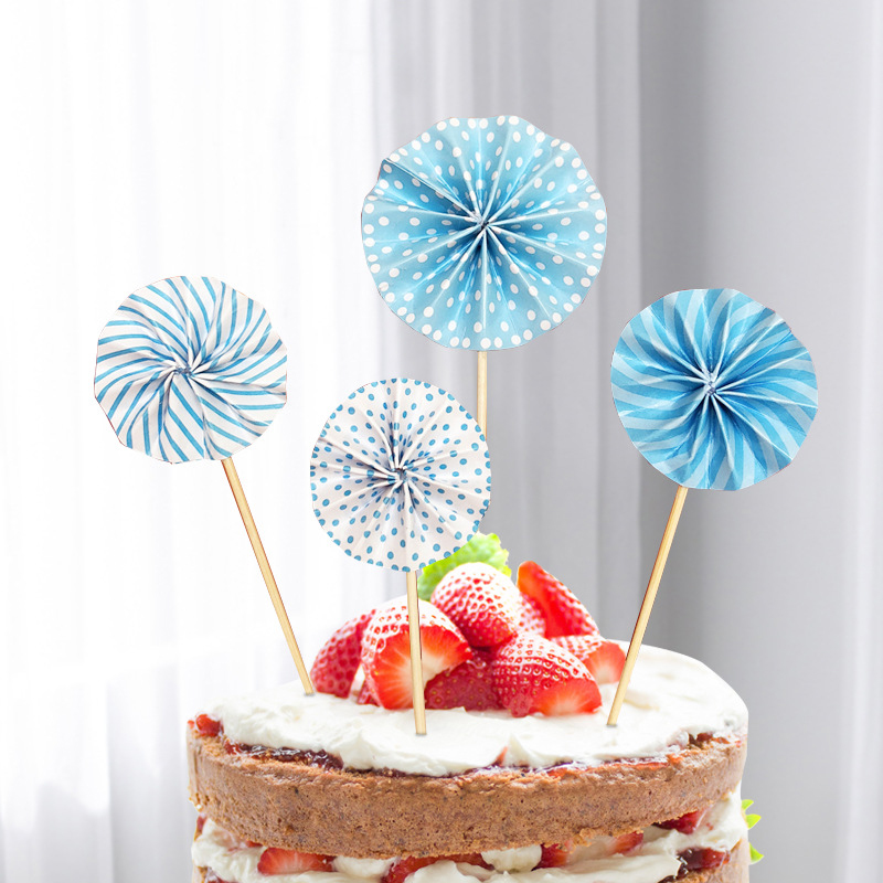Blue Happy Birthday Cake Topper Set Paper Fans Confetti Balloon Acrylic Cupcake Topper for Birthday Cake Decoration