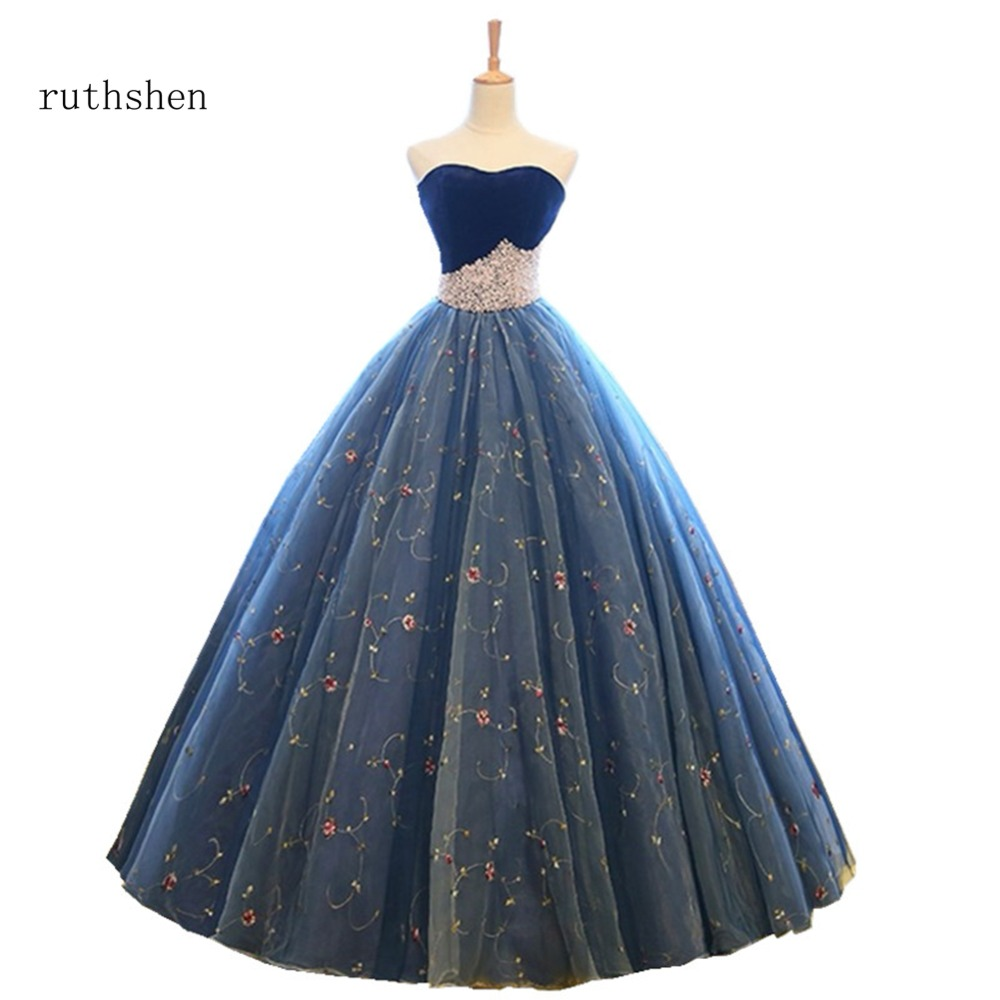 ruthshen Sexy Strapless Long Prom Dresses Sleeveless Ball Gowns With Pearls Evening Dresses Luxury Elegant Robes De Soiree 2018