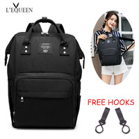 Diaper Baby Bag for Stroller Mummy Maternity Nappy Bag Business Style Solid Bag Front Zipper Back Rings Hang on Wheelchair