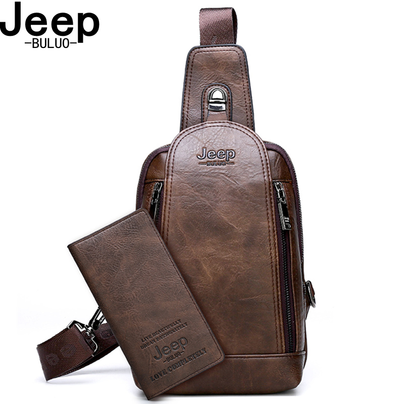 JEEP BULUO Brand Travel Hiking Cross Body Messenger Shoulder bags Men 39 s Large Capacity Chest Sling Bag Solid Men Leather Bag in Waist Packs from Luggage amp Bags