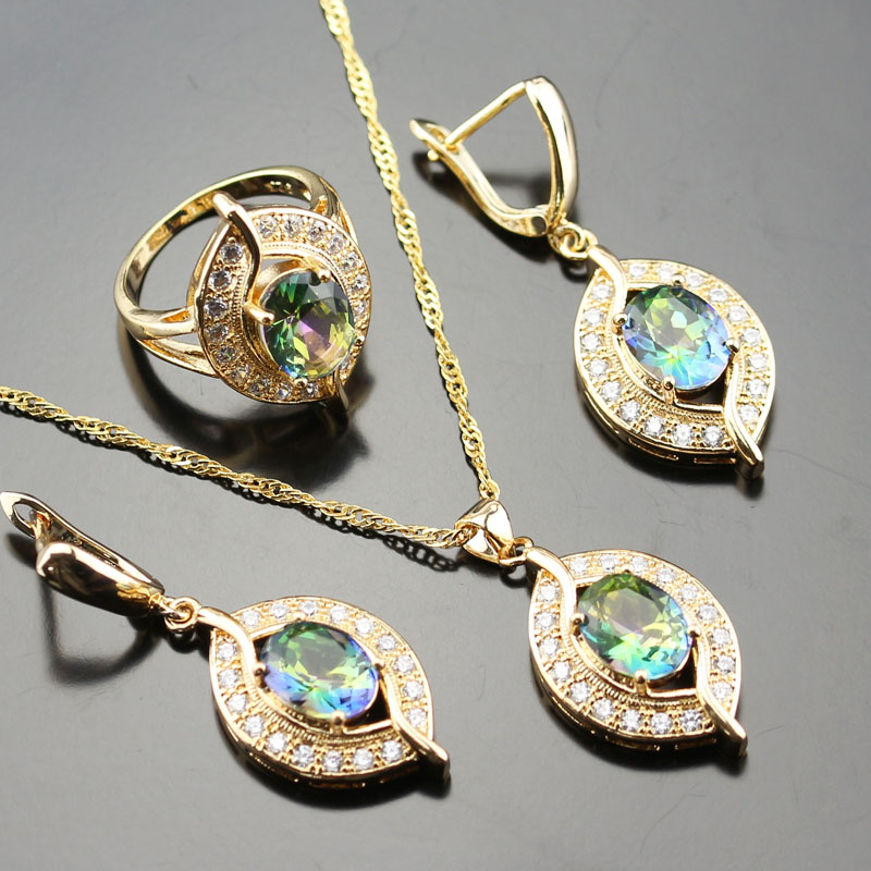 Marvelous Blue Rainbow White Zircon Colourful Jewelry Set For Women Gold Color Rings/Earrings/Necklace/Pendant