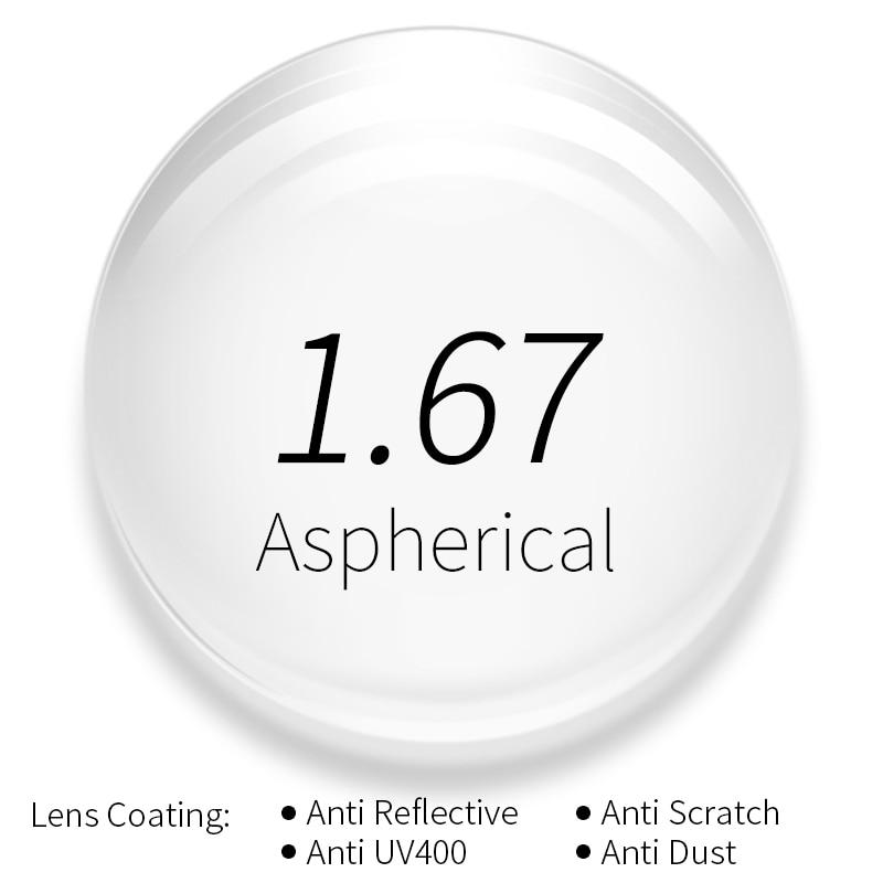 Protection contre les rayonnements 1.67 Ultra-mince indice HMC EMI asphérique Anti-UV myopie hyperopie lentilles de Prescription optiques claires, 2 pièces