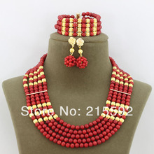 Costume African Beads Jewelry Set Red Coral Beads Jewelry Set 5 Rows Fashion Bridal Necklace Set Wholesale Free Shipping CJ107