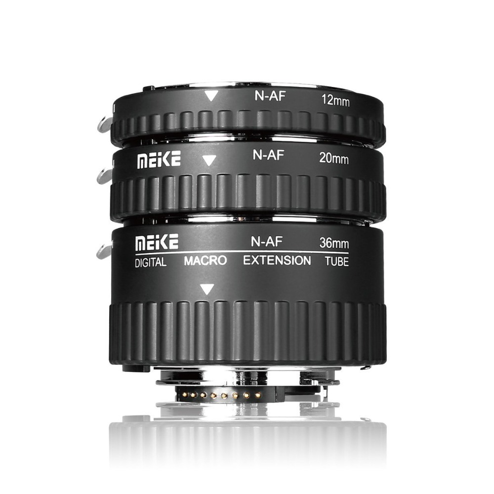 Meike N-AF-A Messa A Fuoco Automatica Macro Extension Tube Ring per Nikon D60 D90 D3000 D3100 D3200 D5000 D5100 D5200 D7000 D7100 Fotocamera DSLR