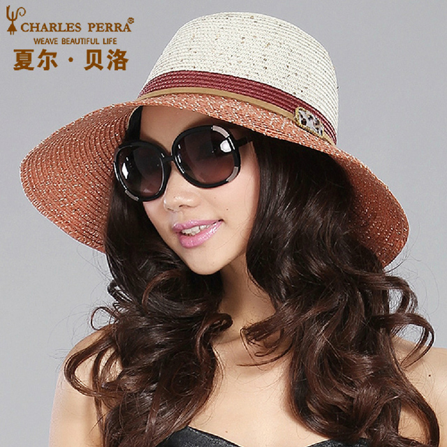 Bello Sol Moda femenina Sombrero Femenino Protector Solar Verano Casquillo Sombrero de Ala Ancha Señora Cortina Plegable Casquillo de la Playa Grande de Corea B-4868