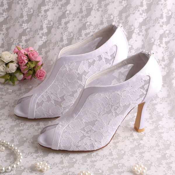 ФОТО Custom Handmade White Lace Wedding Pumps with Back Zipper High Heel Open Toe
