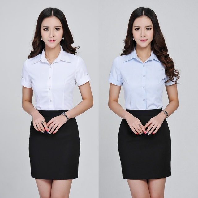 ed11041972c9 Formal Ladies Short Sleeve Shirts Women Blouses Summer with Stripes Office  Uniform Shirts OL Work Wear Clothing New 2015