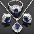 Alta Calidad Azul Zirconia Cúbico Para Las Mujeres Conjuntos de Joyas de Plata Colgante de Collar Pendientes Anillos Envío Libre JS096