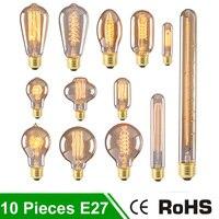 10 pcs Ampoules À Incandescence E27 220 V Ampoule Luminaria Carbone Filament Vintage Rétro Lampe 40 W Lampada Edison De Noël Maison éclairage
