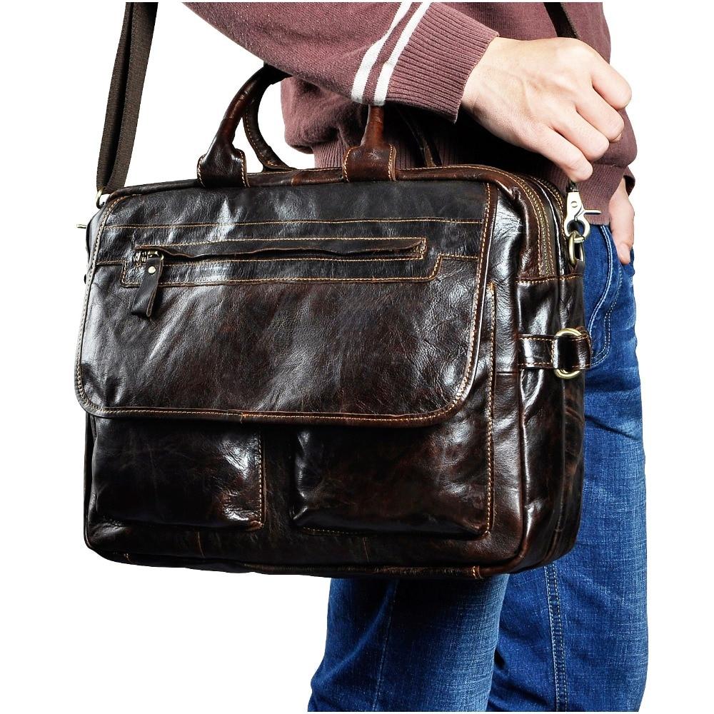 "Men Quality Leather Large Business Briefcase Handbag 15.6"" Laptop Case Attache Portfolio Bag One Shoulder Messenger Bag 2951c"