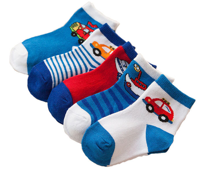 one pair(Random Color) blue and car socks childrens for seasons (Spring,Summer,autumn,winnter) Infant Baby for girls and boys