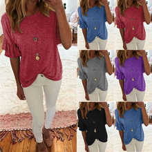2019 summer new European and American large size womens round neck solid color short-sleeved t-shirt shirt S-5XL