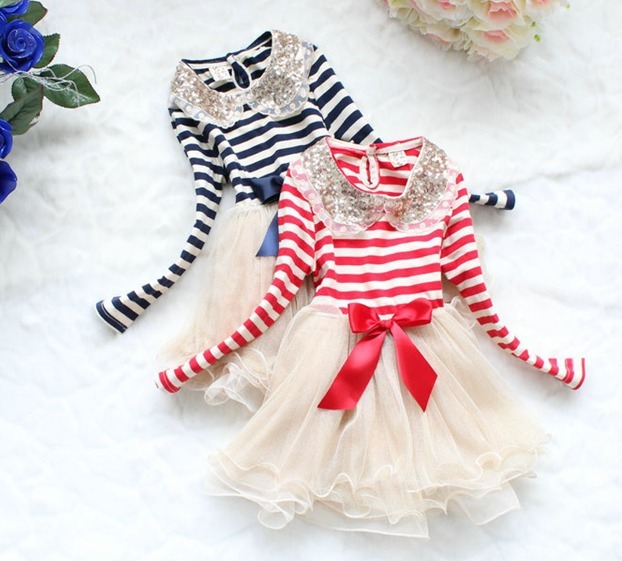 Spring kids paillette Sequin lace collar stripe long-sleeve dress lovely cake girls dress