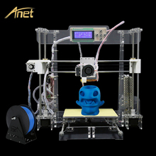 Hot!!! Anet A8 Precision Reprap Prusa i3 3d-printer diy Large Printing Size 3D Printer kit Transparent with Filament