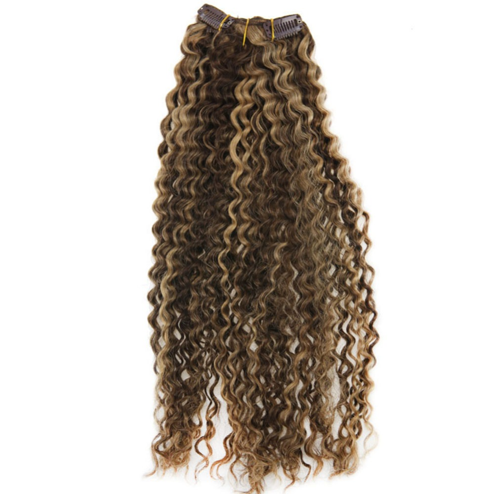 Moresoo Kinky Curly Clip In Hair Extensions Remy Human Hair Brown And Blonde Highlights #P4/27 Clip In  Full Head Set 7pcs/120g