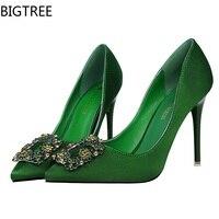 BIGTREE Pompaları Kadın Yüksek topuklu ipek Taklidi Gelinlik ayakkabı Sivri Burun Ofis bayan Ayakkabıları Moda Parti ayakkabı 7 renk