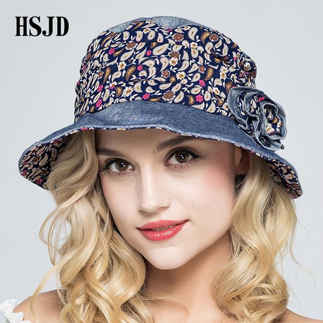 Female Foldable Small Floral Cloth Sun Hat Wide Brim Bucket Cap 2018 New  Summer Flower Anti-UV Beach Caps Women Fisherman s hat 6eb9e85311c8