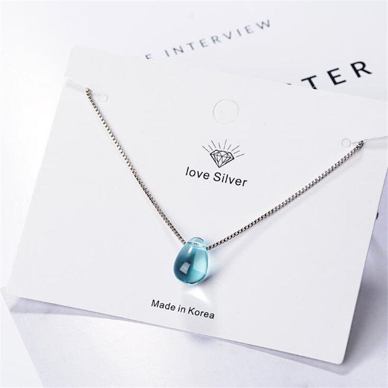 Beautiful Female Blue Crystal 925 Sterling Silver Jewelry Simple Water Drop Temperament Clavicle Chain Pendant Necklaces H368