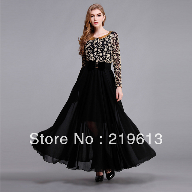 2013 spring autumn new fashoin vintage long sleeve full maxi dress ...