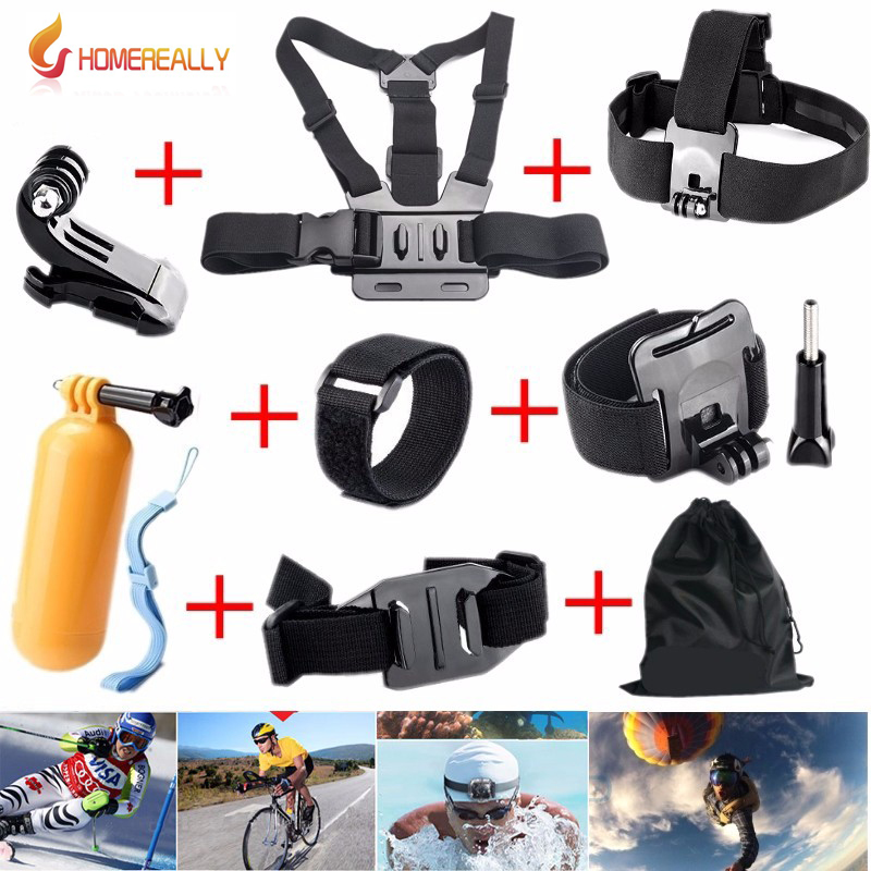 HOMEREALLY Gopro Accessories Set Go pro Chest Head Strap Monopod Floating Bobber For Go pro Hero5 4 Sjcam Sj4000 Sj5000 M10 M20-in Tripods from Consumer Electronics