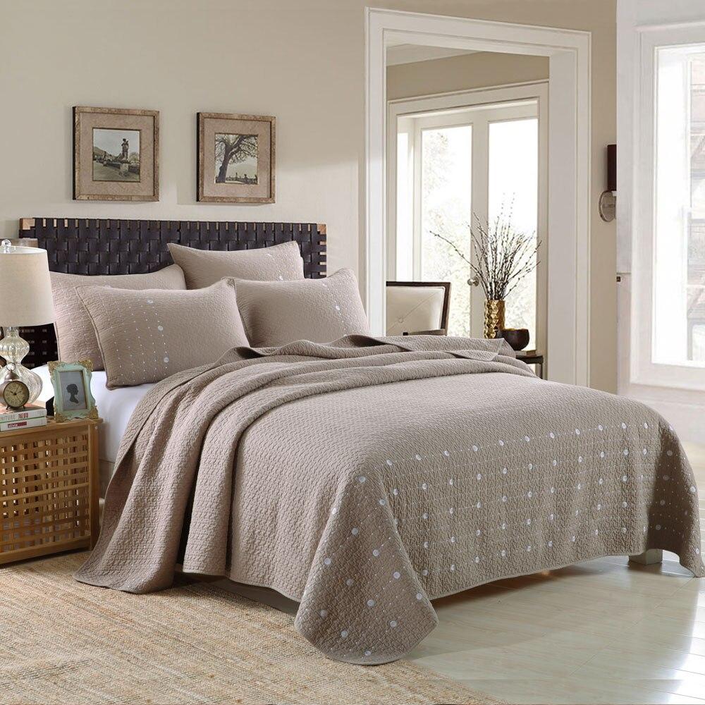 ᗖMarrón 100% algodón juego de cama acolchado patchwork sabanas ...