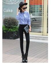 Женский Новая мода высокая талия стретч тощий лодыжки брюки женские вскользь Уменьшают Разорвал джинсы карандаш брюки