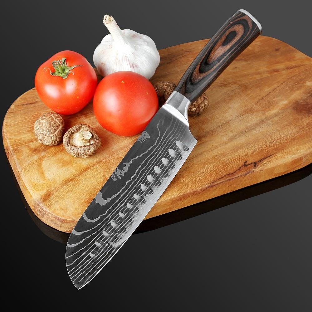 Image 4 - XITUO 包丁ステンレス鋼ダマスカスレーザーパターンナイフパカ木製ハンドルフルーツ野菜肉調理ツール Accessorie    グループ上の ホーム