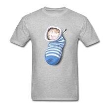 Cotton Custom Short Sleeve Cat In The Sock T Shirt The Sleepy Cute Cat Men's T-shirts Pp Geek 3XL 3d T Shirt