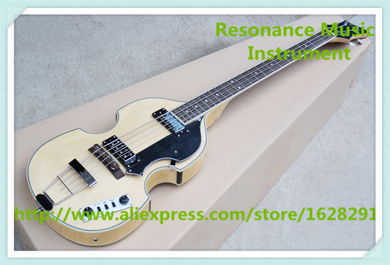 Hot Selling Chinese Natural Wood Color Finish 4 String Hofner BB2 Electric Bass Guitar With Chrome Hardware