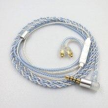 ZSFS Azul/prata misturada Earphone Atualize Cabo 5N 4 partes conector MMCX para Shure SE215 SE315 SE535 SE846 UE900 W80 Fone de Ouvido